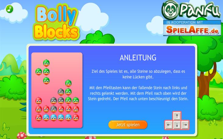Online Spiel für Kinder: Flash Game Bolly Blocks auf Panfu.de kostenlos.