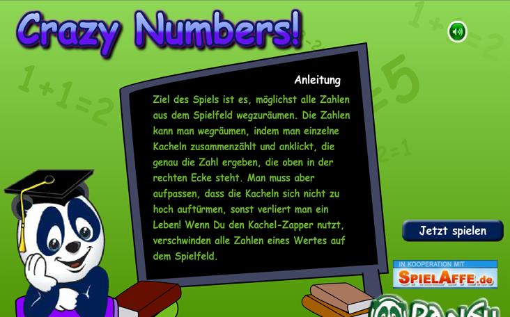 Spiele gratis Pandaspiel Crazy Numbers auf Panfu.de im Web.