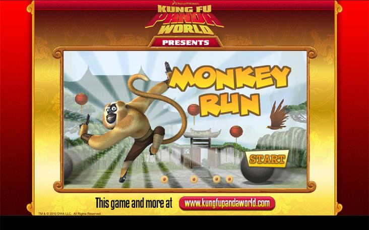 Online spielen: Kung Fu Panda - Monkey Run - auf Panfu.de ohne Anmeldung.